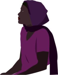 Femme noire tissu tete